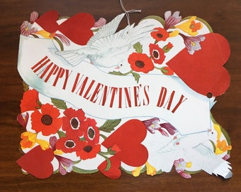 Vintage 1950's Felted Die-Cut Happy Valentine's Day Sign Doves Heart Banner Flowers