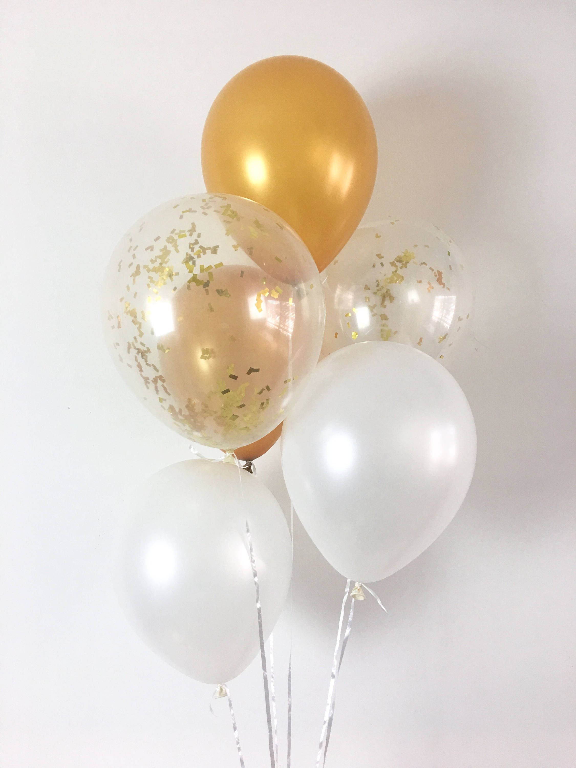Gold Pearl White Gold Confetti Latex Balloons White and Gold