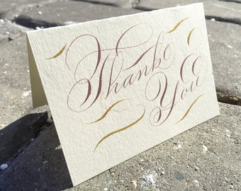 Hand made rose gold thank you cards. Rose gold wedding thank you cards. Vintage thank you cards. Custom wedding thank you cards. Gala script