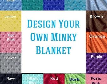 Adult Minky Blanket,  Personalized Minky Throw - choose colors / Twin Blanket / Custom Blanket / Minky Throw Blanket / Personalized Gift