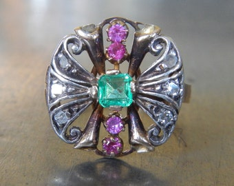 Antique Emerald Ruby Diamond Ring-Unique Engagement Ring-1910s-Vintage Emerald Cocktail Ring-Antique Statement Ring-1900s Right Hand Ring