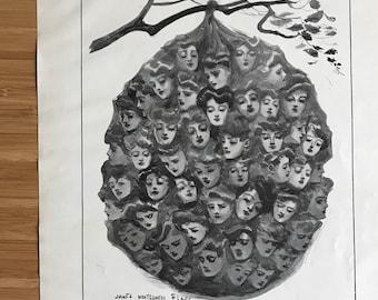 Vintage Art Deco woman portrait art print romance love art black and white artwork large art print the hornets nest