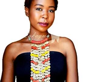 African Statement choker necklace,Statement Red&Yellow Choker necklace,African statement Jewelry