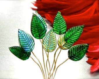 SUPPLY: 14 Iridescent Green Leaf Headpin - Glass Drops with Brass Wire - Handcrafted - Wedding - SKU 8-C1-00008483