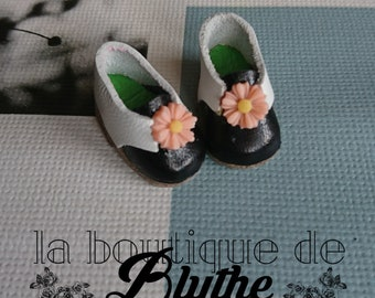 Black and white leather shoes for Blythe doll-black and white leather shoes for Blythe