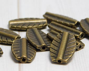 16x10mm - Metal Beads - Bronze Beads - Brass Beads - Pewter Beads - Leaf Beads - Lead Free Beads - 10pcs - (4619)