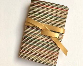 Leather travel journal / leather sketch book/ leather notebook in multicolour striped leather and gold leather strap. Personalized notebook