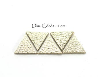 Genuine Leather Triangles - Equilateral Triangle - Sides: 10 mm - Goat Leather - Lot Color Gold Clear (6 pcs)