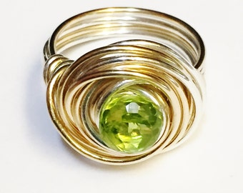 Peridot Ring   Peridot Gemstone Ring  Peridot Jewelry  August Birthstone   Silver Ring  Gold Ring