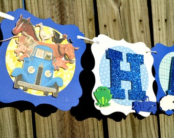 Little Blue Truck Birthday Banner