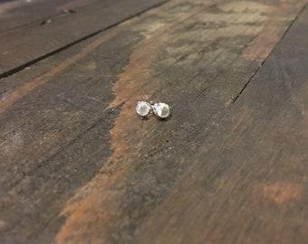 Tiny Moonstone Stud Earrings, 3mm Moonstone Earrings, Sterling Silver Studs , June Birthstone Studs, Moonstone Earrings - Tiny Studs
