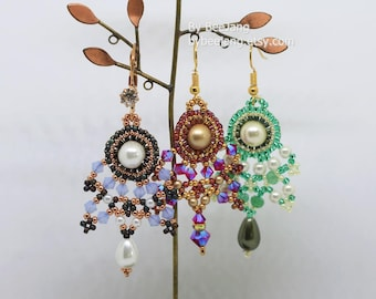 PDF Tutorial - Aria Earrings Beadweaving Instruction Instant Download Beading Pattern