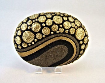Unique 3D Art Object, OOAK, Painted Rock, Black Gold Glitter Pebbles Design, Home Decor, Office Decor, Gift for Her or Him, Collectibles