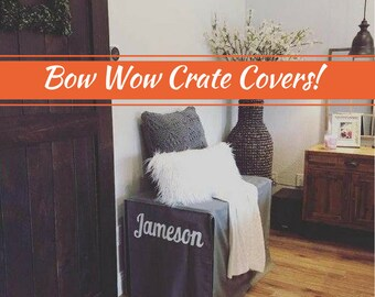Grey Dog Crate Cover, Canvas or Linen-Look in MANY Colors, Custom Crate Cover, Kennel Cover, Pet Crate Cover, Personalization Extra