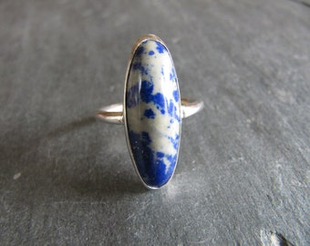 Ring of Lapis and Calcite in Sterling Silver