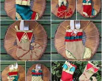 Set of Burlap Silverware Holder  Christmas Utensil Holder Santa Stocking READY To SHiP Burlap Stocking
