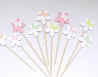 Cupcake toppers flower Butterfly cake tops Kuchensticks cake toppers sticks Wedding