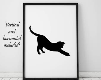 Cat Print Cat Owner Gifts Cat Lover Gift Cat Silhouette Cat Lady Wall Art Printable Art Prints Black And White Wall Decor Instant Download