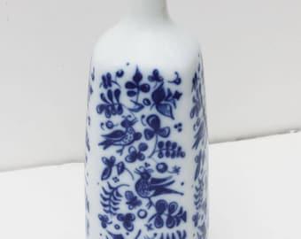Mid Century Modern Porsgrund Norway Cobalt Blue Bird Design Porcelain Bud Vase