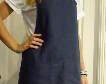 Navy linen vintage style Kitchen apron.one size fits all, non tiring  straps, that slip over your head. Pre washed linen