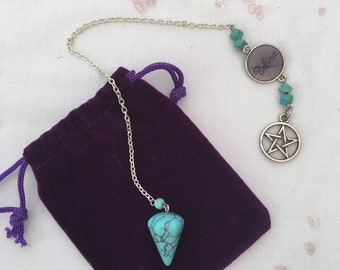 Turquoise  Pendulum with pentagram.