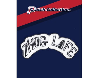 Thug Life Tattoo Black And White Embroidered Iron On Applique Patch