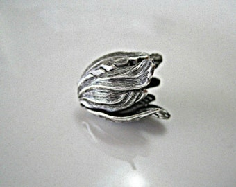 Larger Antique Silver Plated Brass Tulip Bead Caps Antique Silver Plated Bead Caps Silver Tulip Bead Caps 20x17mm (1 pc) 6MV3