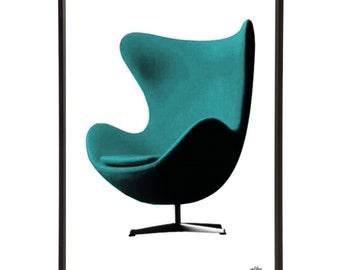 Mid-Century Egg Chair Pop Art Print Modernist Modernist Arne Jacobsen