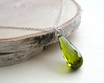Crystal Teardrop Necklace, CZ, Cubic Zirconia, Green Teardrop Necklace, Moss Green, Dark Green - Sterling Silver Chain