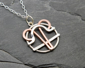 Aries libra zodiac necklace sterling silver and polished copper