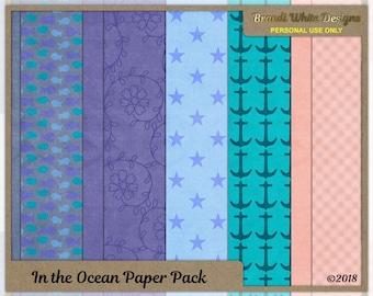 Digital Scrapbooking Background Paper: In the Ocean