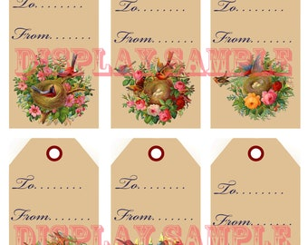 Six Victorian Gift Tags - Bird Nests - A4 Digital Download