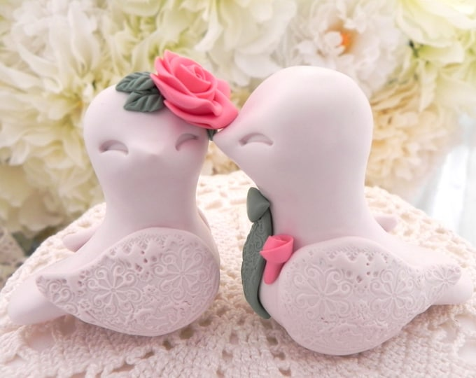 Love Birds Wedding Cake Topper, Light Beige, Coral and Moss Green - Bride and Groom Keepsake, Fully Custom