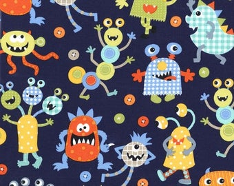 Michael Miller Monster Mash in Navy - you chose the cut