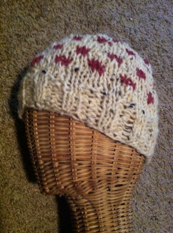 Wool cream tweed and cranberry red spotted ski hat