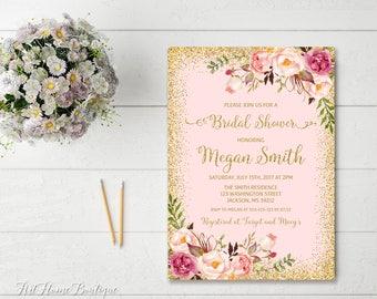 Bridal Shower Invitation, Floral Pink Bridal Shower Invitation, Boho Bridal Shower Invite, Bridal Shower Printable, W02