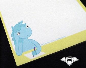 Note Pad - Magical Blue Unicorn memo notepad - yellow and blue kawaii stationery ecofriendly gift