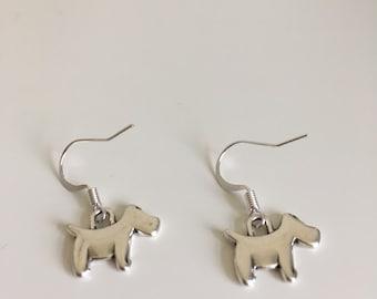 Antique silver scottie dog earrings