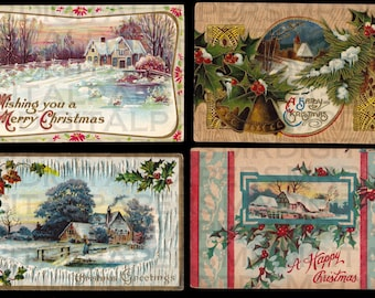4 Four Antique Christmas Postcards. Home for Christmas. Snow. 14 x 21. Digital Paper Download Scrapbooking Supplies Instant High Resolution