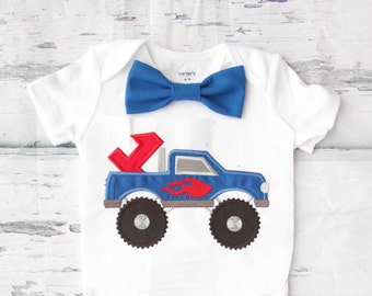 Baby boy first birthday Monster Truck themed cake smash outfit boy little flame truck 1st birthday one year bow tie onesie birthday shirt
