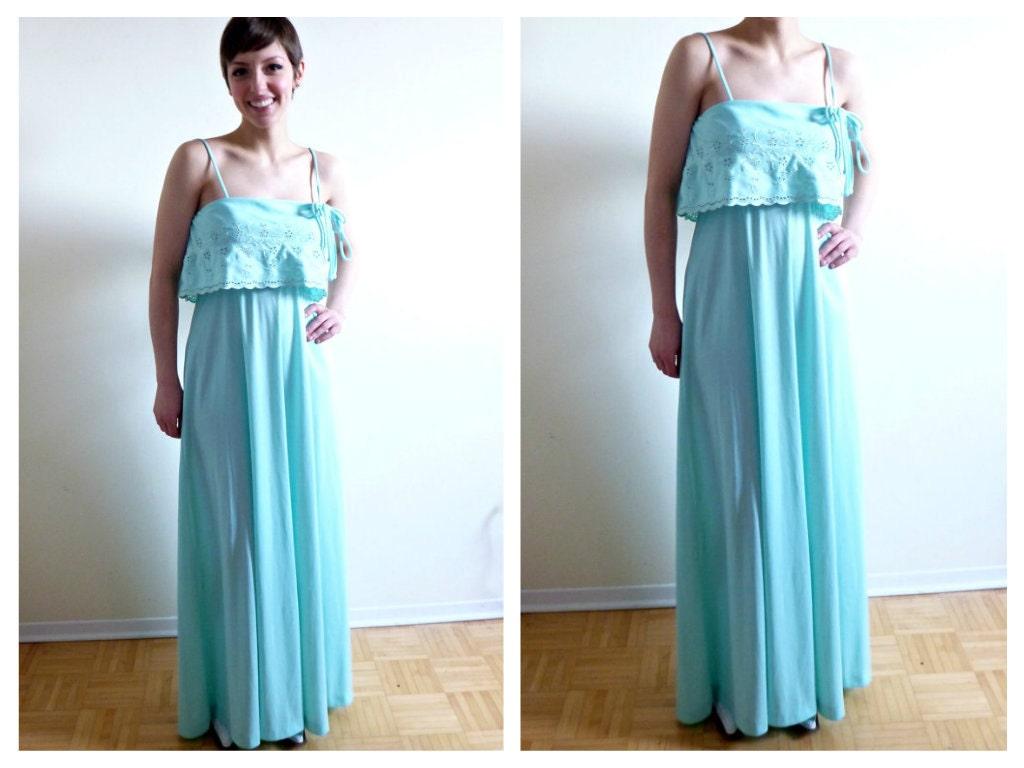 Blue Peasant Mint Green Maxi Dress Small Bridesmaid Pastel