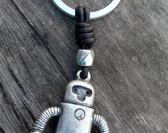 Robot key chain, retro key chain, Zamak key chain, jewelry, handmade jewelry