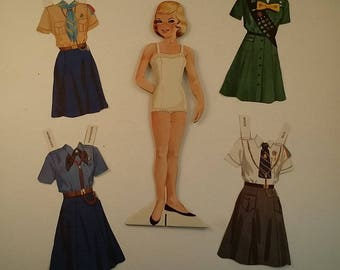 Vintage Girl Scout / Girl Guide Paper Doll, 1960s -- 9.25 Inches Tall, 44 Uniforms from around the World, Most Uncut, Collection