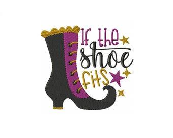 The Shoe Fits Halloween Embroidery Design - Halloween Embroidery - Shoe Embroidery - Halloween Shoe - 4x4 Hoop - 5x7 Hoop - Instant Download
