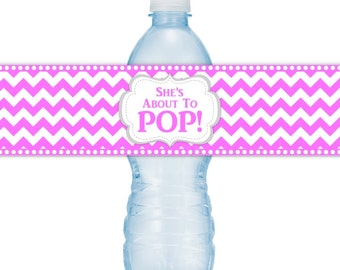She's About To Pop Water Bottle Labels, INSTANT DOWNLOAD, Pink Chevron About to Pop Baby Shower, you print, you cut, DIY
