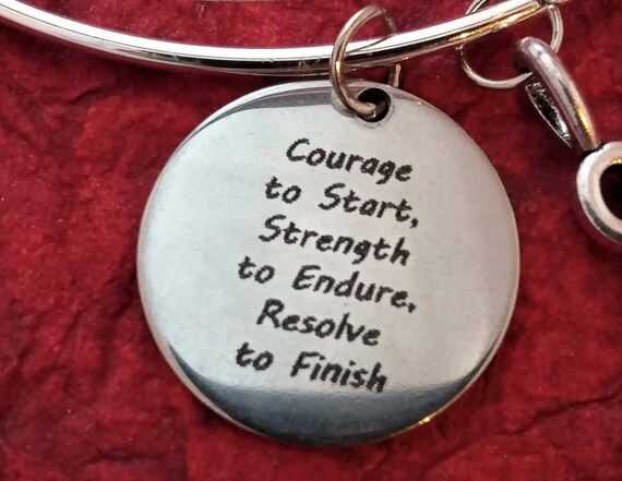 CrossFit Jewelry, Fitness Gifts, Word Charms Necklace, Courage to Start, Gym Workout Buddy, Motivational Quote, Inspirational Sports Jewelry