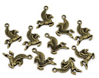 10 charms winged horse Pegasus, bronze, 24mm