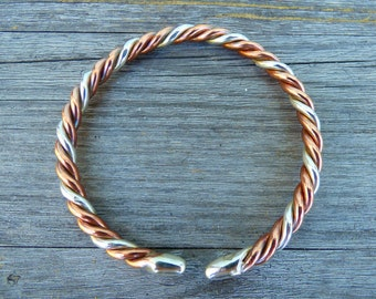 Two Metal Astrological Bangle with two Pure Copper wires and one Pure Silver wire