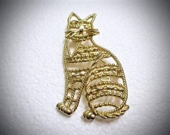 Vintage Large Gold Tone Sitting Cat Brooch Pin Openwork Signed 1980