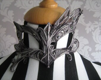 Handmade Embroidered Lace Mask in Varigated Black and Grey Thread with Diamantes